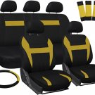 New Car Seat Covers Yellow Black 17pc Set for Auto Steering Wheel/Belt Pad/Head Rest
