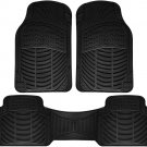 New Car Floor Mats for Honda Civic 3pc Set All Weather Rubber Semi Custom Fit Black