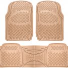 New Car Floor Mats for Honda Civic 3pc Set All Weather Rubber Diamond Fit Beige