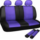 New Car Seat Covers For Auto Honda Civic Bench Purple Black w/Belt Pads Faux Leather