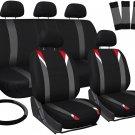 New Car Seat Cover for Hyundai Sonata Red Gray Black w/Steering Wheel/Belt/Head Rest