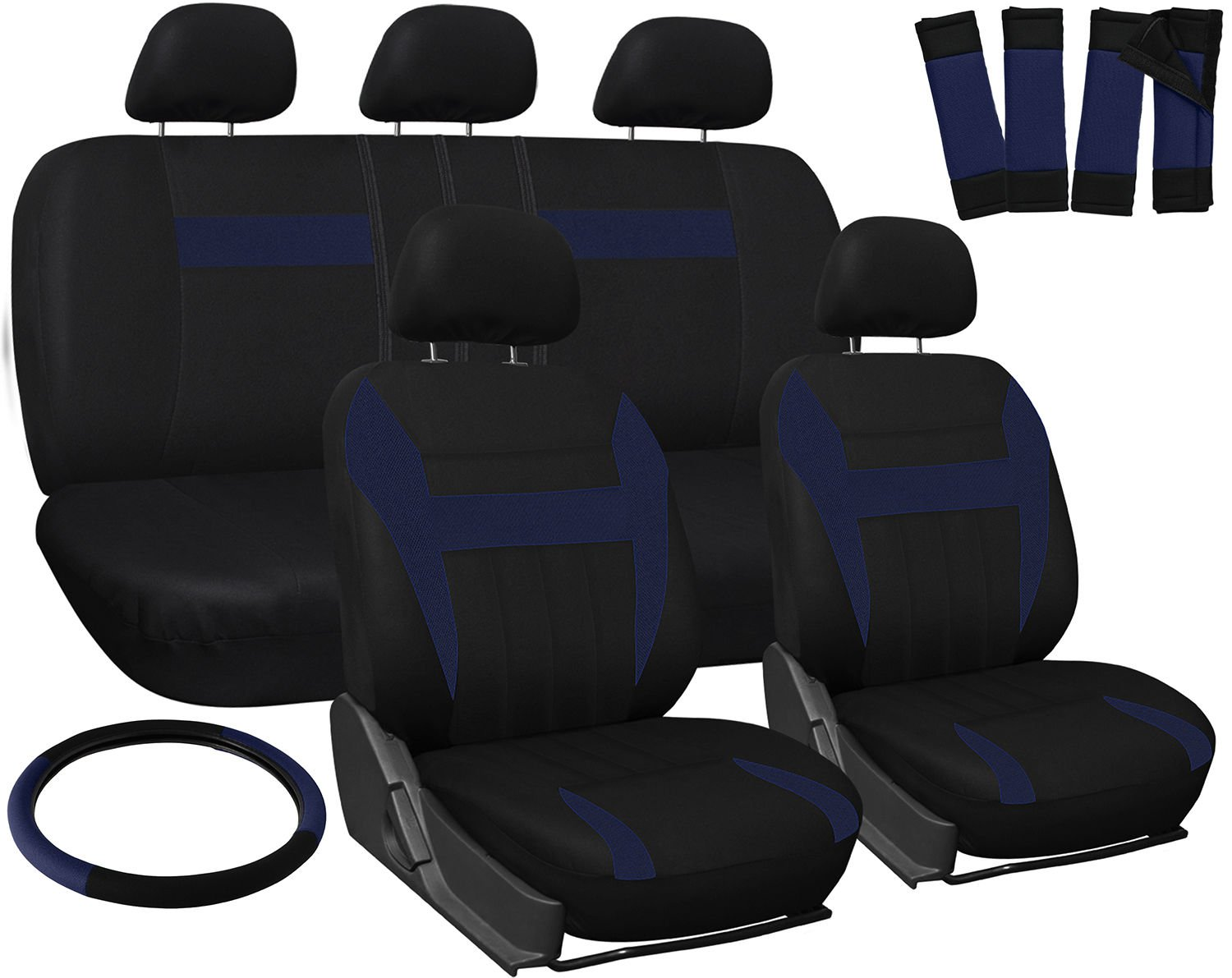 New Car Seat Covers for Hyundai Sonata Blue Black Steering Wheel/Belt Pad/Head Rests