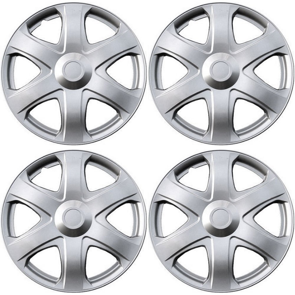 "New 4 Pc Set of 16"" Inch Silver Hub Caps Full Lug Skin Rim Cover for OEM Steel Wheel"