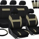 New Car Seat Covers for Honda Civic Tan Black w/ Steering Wheel/Belt Pads/Head Rests
