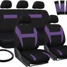 New Car Seat Covers for Honda Civic Purple & Black Steering Wheel/Belt Pad/Head Rest