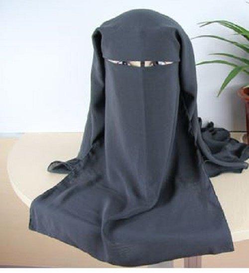 Free Shipping El Amin Gray 3 Layer Saudi Niqab Hijab Hejab Burqa Muslim Veil