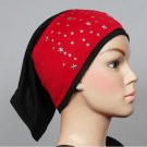 Free Shipping Red Star Studded Lycra Tub headband HIjab hejab  yoga Headband Muslim Eid