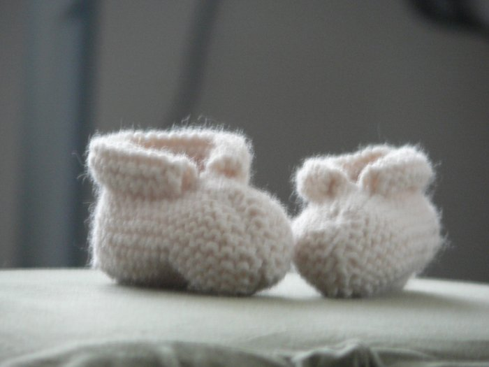 Handmade Baby Booties - Cream
