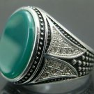 Men's .925 Silver Green Agate Ring with White Zirconia, Handcrafted in Turkey