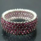 Hand Crafted Turkish Women's .925 Silver Ring Band with Small Pink Rubies Around