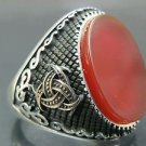 Doctor's Biohazard Style Turkish Handmade Men's .925 Fine Silver Red Agate Ring