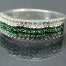 Hand-Made Turkish .925 Fine Silver Women's Wavy Emerald Ring with White Zirconia