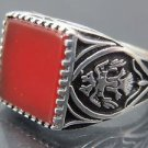 Twin Headed Phoenix Bird Handmade .925 Fine Silver Men's Red Agate Turkish Ring
