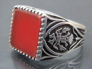 Twin Headed Phoenix Bird Handmade .925 Fine Silver Men's Red Agate Turkish Ring