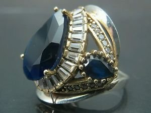 Hand-Made Turkish .925 Fine Silver Women's Sapphire Crystal Cleopatra Style Ring