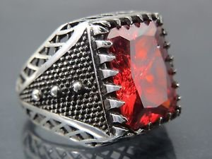 Spiky Bold Triangular Style Six Dotted Handmade .925 Silver Men's Turkish Ring
