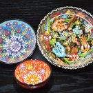 Handmade Turkish Ottoman Hand Painted, Set of 3 Ceramic Porcelain Nesting Bowls