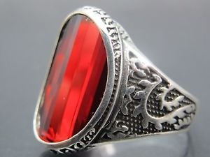 Chinese Dragon Style Men's Oval Ruby Ring 925 Silver Turkish Handmade Ships Free
