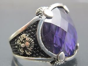 Hand-Made Turkish .925 Fine Silver Ring with Amethyst & Peacock Feather Emblem