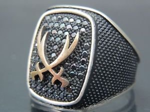 Arabian Sword Clash .925 Silver Turkish Handcrafted Men's Ring with Cubic Onyx