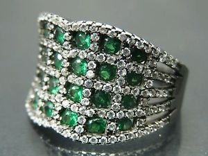 Turkish Hand-Made .925 Fine Silver Women's Cubic Emerald Ring Band with Zirconia