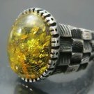 Handmade Turkish .925 Fine Silver Men's Antique Checkered Side Yellow Amber Ring