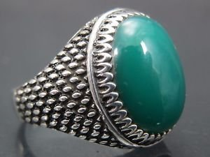 Hand made .925 Fine Silver Men's Turkish Reptile Skin Design Green Agate Ring