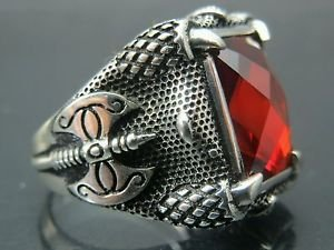Hand-Made .925 Fine Sterling Silver Turkish Men's Balta Battle Axe Ruby Ring