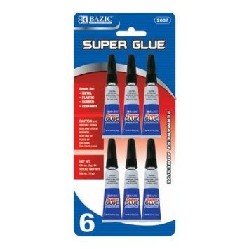 SUPER GLUE SUPER STRENGTH PERMANENT ADHESIVE - 6/Pack BAZIC® - FREE SHIPPING US