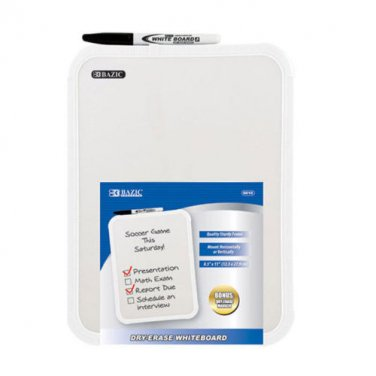 Dry Erase Board with Dry Erase Marker, Bazic® Brand, Portable Compact 2 PC Set!