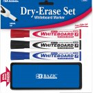 DRY ERASE MARKER SET - 3 PC WHITEBOARD MARKERS WITH ERASER, BAZIC® BRAND, NEW!