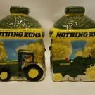 John Deere Salt & Pepper Shakers Set Gibson Ceramic Green Yellow Tractors Deer