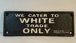 CAST IRON REST ROOMS WHITE COLORED SEGREGATION SIGN BLACK AMERICANA L&N TRAIN