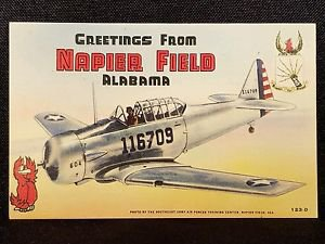 VINTAGE  POSTCARD GREETINGS FROM NAPIER FIELD ALABAMA