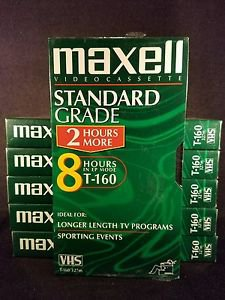 MAXELL STANDARD GRADE T-160 BLANK VHS VIDEOCASSETTE 8 HOURS T-160/327m Sealed