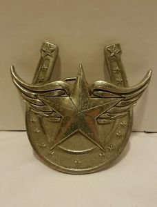 Lucky Flying Star Horseshoe with Wings Belt Buckle Fine Pewter