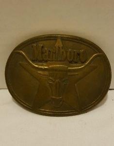Vintage Marlboro Solid Brass Philip Morris 1987 Belt Buckle
