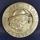 Vtg 1979 Solid Brass United States Marines First to Fight Bulldog Belt Buckle