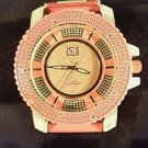 ICE NATION 2 Tone Pink/White Band CZ Stone Fashion Techno Bling Watch