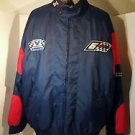 Vintage Mark Martin NASCAR Lined Coat Sewn Logos Men L Nutmeg Zipped Front Roush