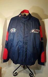 Vintage Mark Martin NASCAR Lined Coat Sewn Logos Men L Nutmeg Zipped Front Roush