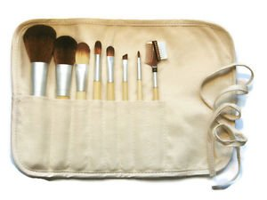 Nature Provides 8 Brush Collection Bamboo Handles Taklon Bristles Cotton Hemp Pouch