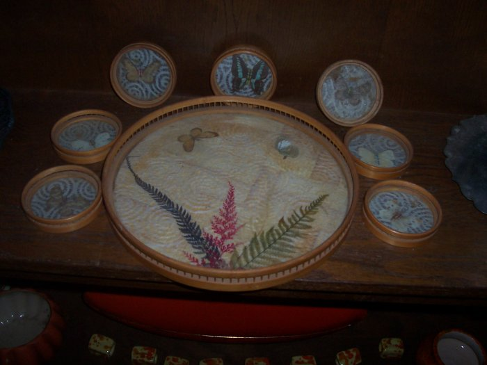 Vintage butterfly tray and coaster set
