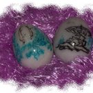 Two Etched Marble Eggs