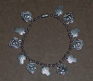 Silver Heart and Cross Bracelet