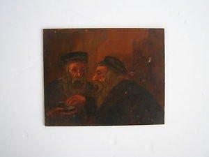 Vintage Marvelous Jewish Judaica oil on board painting