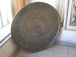 Antique Islamic Persian 3800gr Primitive HAMMERED Copper TRAY