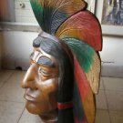 6000gr  Indian Art Wood Sculpture Carving Chief Head