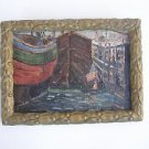 Russian Marina Landscap  - unidentified artist - oil on heavy board - Signed