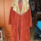 Stunning Vintage ILGWU U.S.A Long Brown/Orange Suede & Fur Lady Coat Jacket